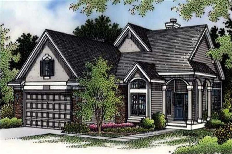 This is the front colored rendering of Country Houseplans LS-B-94008.
