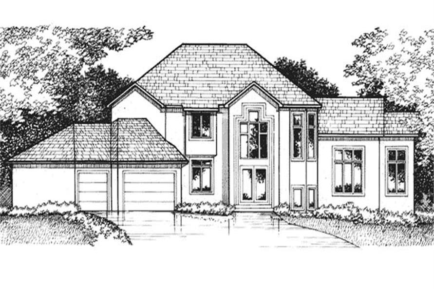Home Plan Front Elevation of this 4-Bedroom,4100 Sq Ft Plan -146-1986