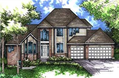 4-Bedroom, 3123 Sq Ft Colonial Home Plan - 146-1988 - Main Exterior