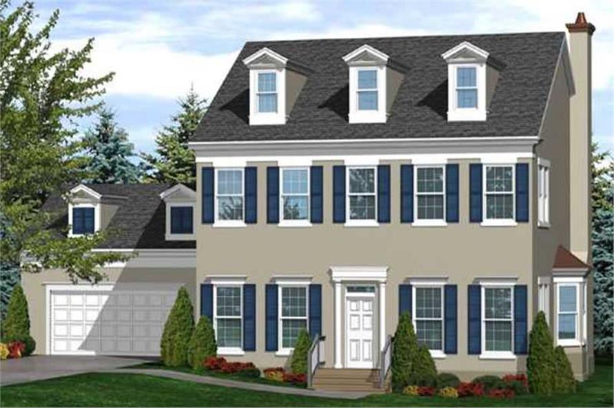 3-Bedroom, 2526 Sq Ft Colonial House Plan - 146-1990 - Front Exterior