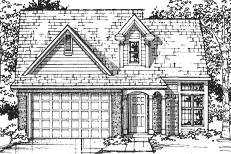 Home Plan Front Elevation of this 4-Bedroom,1589 Sq Ft Plan -146-2013