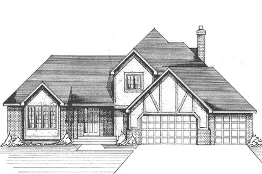 3-Bedroom, 2144 Sq Ft Tudor Home Plan - 146-2028 - Main Exterior