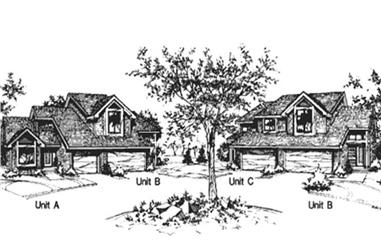 2-Bedroom, 1176 Sq Ft Multi-Unit House Plan - 146-2041 - Front Exterior