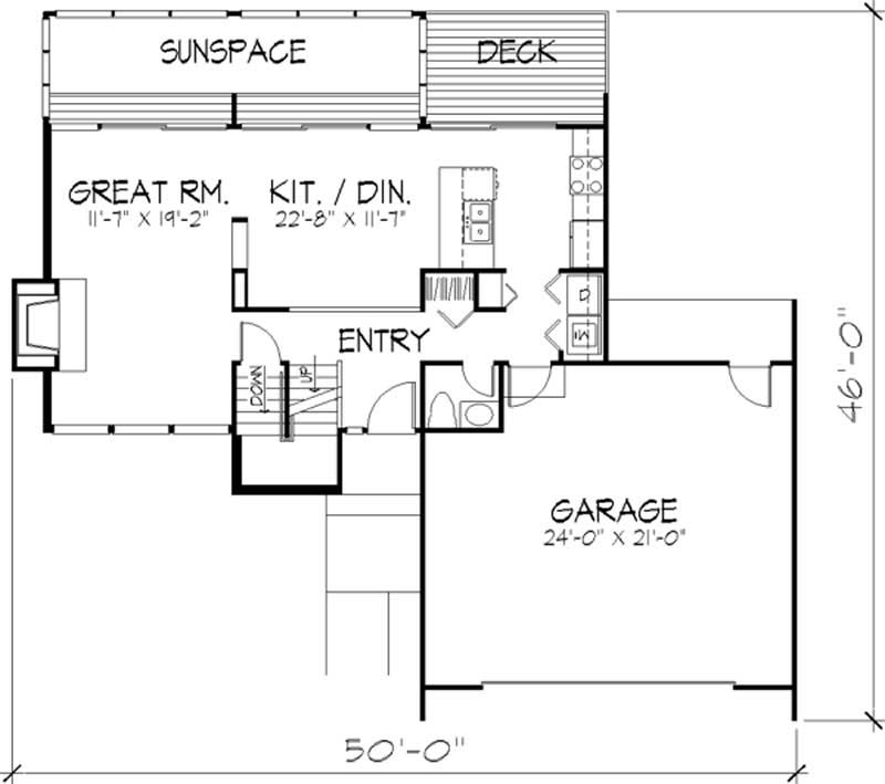 Modern House Plan 2 Bedrms 1 5 Baths 1563 Sq Ft