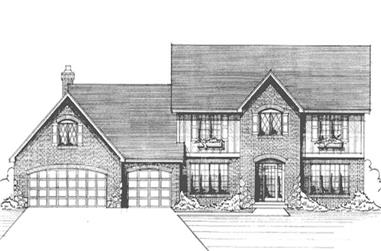 4-Bedroom, 2729 Sq Ft Colonial Home Plan - 146-2082 - Main Exterior