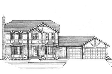 4-Bedroom, 3311 Sq Ft Colonial House Plan - 146-2088 - Front Exterior