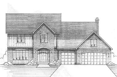 3-Bedroom, 3325 Sq Ft Colonial Home Plan - 146-2089 - Main Exterior