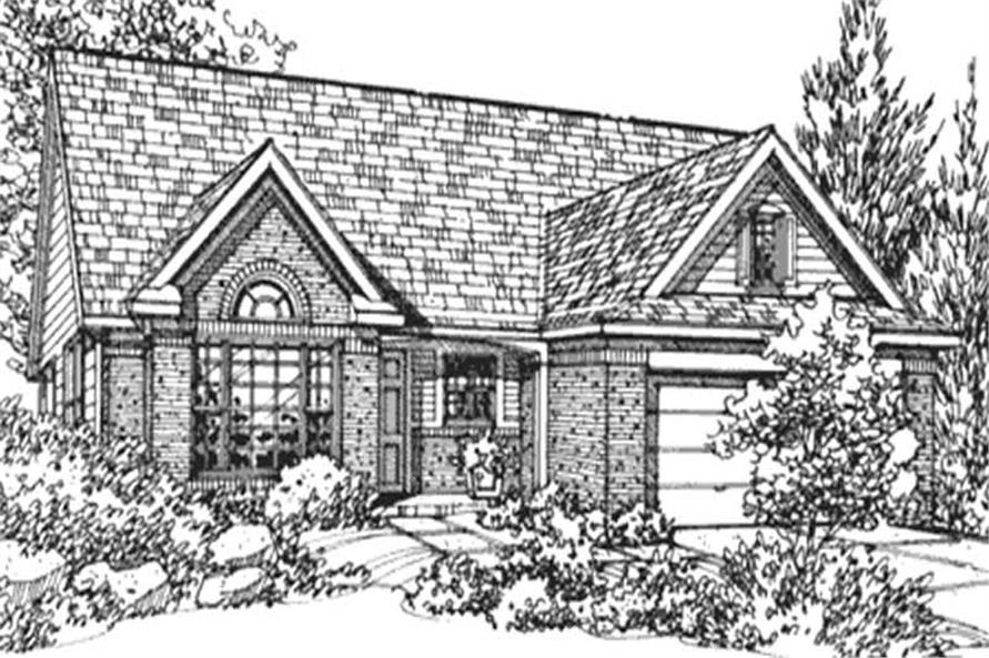 Home Plan Front Elevation of this 3-Bedroom,1365 Sq Ft Plan -146-2100