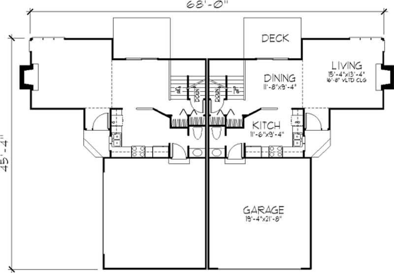 Multi unit house plans home design ls b 1911 c 21509 for Multi unit floor plans