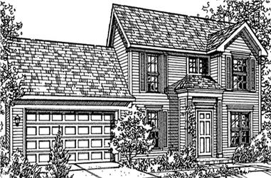 3-Bedroom, 1314 Sq Ft Colonial Home Plan - 146-2142 - Main Exterior