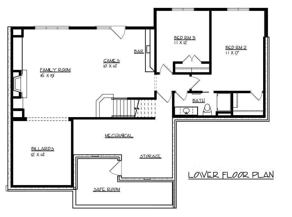 Craftsman house plan 146 2143 3 bedrm 3000 sq ft home plan - House plans one story with basement collection ...