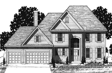 4-Bedroom, 2444 Sq Ft Colonial House Plan - 146-2154 - Front Exterior