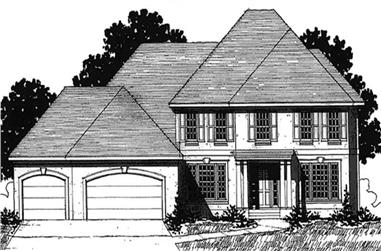 4-Bedroom, 3135 Sq Ft Colonial House Plan - 146-2157 - Front Exterior