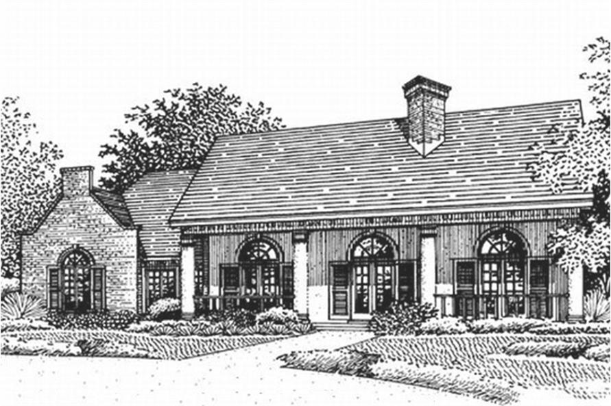 146-2173: Home Plan Front Elevation - Illustration of this Southern Country home.