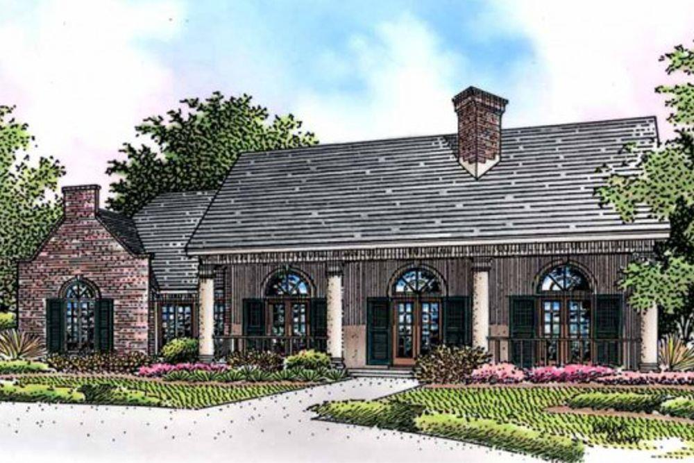 Front elevation of this Southern Country home. (ThePlanCollection: House Plan #146-2173)