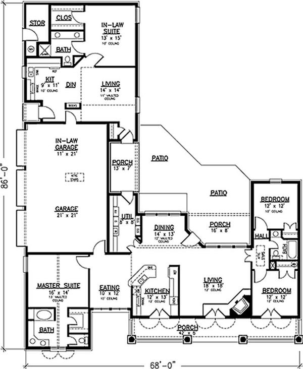 Southern country house plans home design 20944 One story house plans with inlaw suite