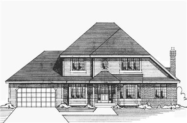 3-Bedroom, 2615 Sq Ft Colonial House Plan - 146-2177 - Front Exterior