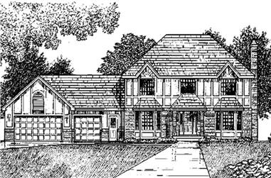 4-Bedroom, 2376 Sq Ft Tudor Home Plan - 146-2179 - Main Exterior