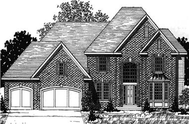 3-Bedroom, 3225 Sq Ft European House Plan - 146-2187 - Front Exterior