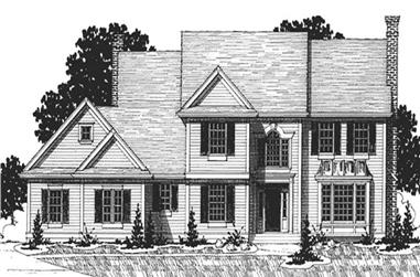 4-Bedroom, 3083 Sq Ft Colonial House Plan - 146-2189 - Front Exterior