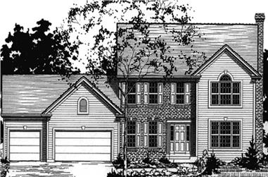 4-Bedroom, 2359 Sq Ft Colonial House Plan - 146-2190 - Front Exterior