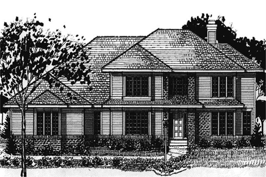 3-Bedroom, 2833 Sq Ft Colonial House Plan - 146-2194 - Front Exterior