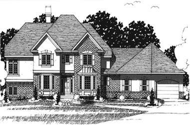 4-Bedroom, 3218 Sq Ft European House Plan - 146-2214 - Front Exterior