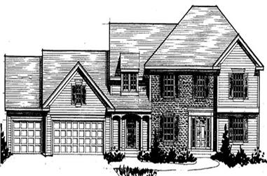 4-Bedroom, 3095 Sq Ft Colonial House Plan - 146-2215 - Front Exterior