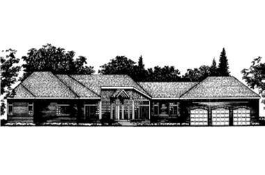 4-Bedroom, 3498 Sq Ft Ranch House Plan - 146-2220 - Front Exterior