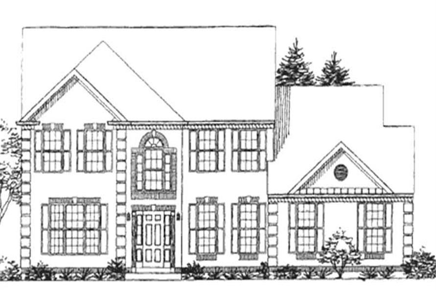 4-Bedroom, 3203 Sq Ft Colonial House Plan - 146-2225 - Front Exterior