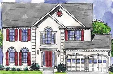 4-Bedroom, 2220 Sq Ft Colonial Home Plan - 146-2227 - Main Exterior