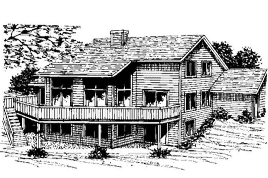 Home Plan Rear Elevation of this 3-Bedroom,1900 Sq Ft Plan -146-2231