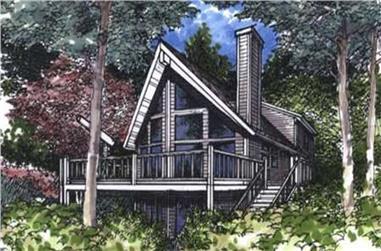 3-Bedroom, 1648 Sq Ft Log Cabin House Plan - 146-2240 - Front Exterior