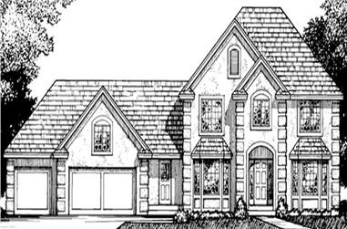 4-Bedroom, 2746 Sq Ft French Home Plan - 146-2243 - Main Exterior