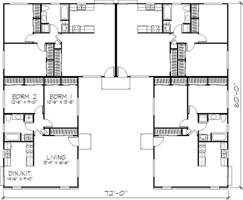 Multi unit house plans home design ls h 565 1a4 for Multi unit home plans