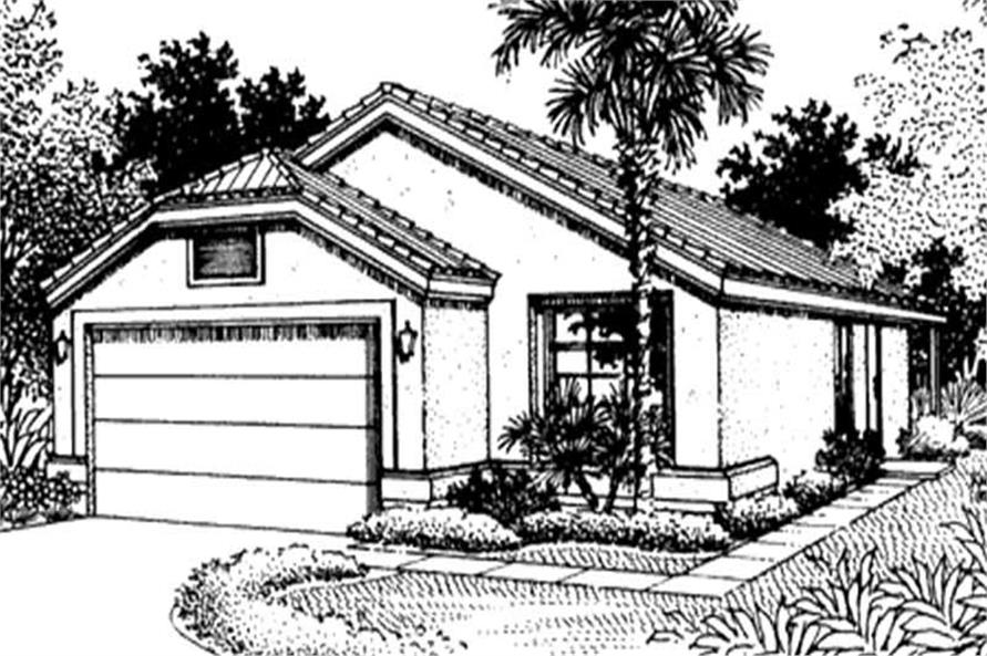 Home Plan Front Elevation of this 2-Bedroom,1298 Sq Ft Plan -146-2320
