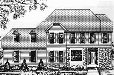 4-Bedroom, 2828 Sq Ft Colonial Home Plan - 146-2365 - Main Exterior