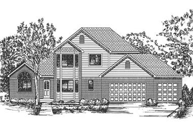 4-Bedroom, 2634 Sq Ft Colonial Home Plan - 146-2367 - Main Exterior