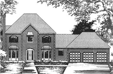 4-Bedroom, 2696 Sq Ft Colonial Home Plan - 146-2383 - Main Exterior