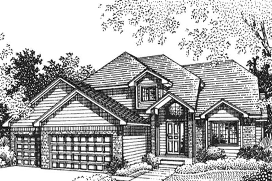 Home Plan Front Elevation of this 3-Bedroom,2164 Sq Ft Plan -146-2389