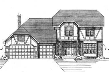 3-Bedroom, 2460 Sq Ft Tudor House Plan - 146-2391 - Front Exterior