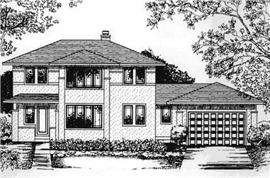 3-Bedroom, 2464 Sq Ft Prairie House Plan - 146-2412 - Front Exterior