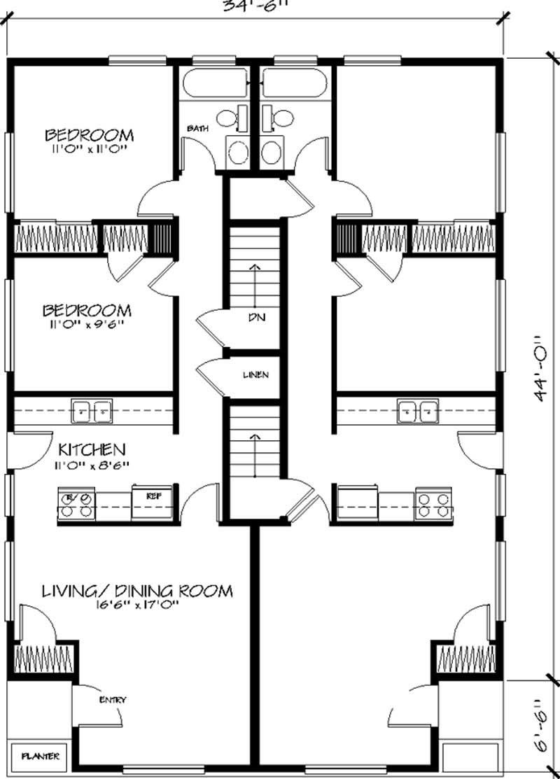 Multi Unit House Plans Home Design Ls 527 G 20594