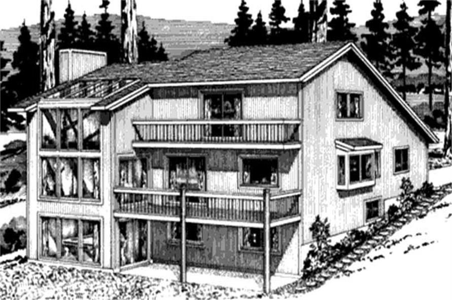 Home Plan Rear Elevation of this 3-Bedroom,2737 Sq Ft Plan -146-2428