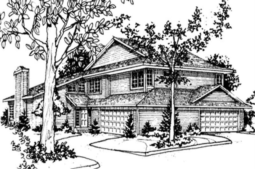 Front elevation of Multi-Unit home (ThePlanCollection: House Plan #146-2461)