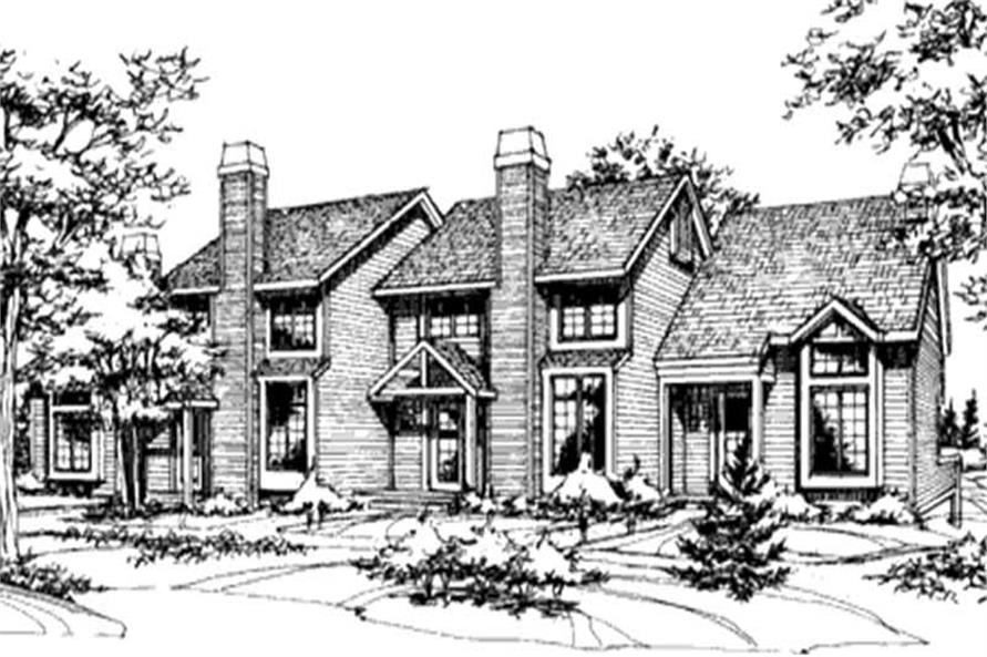 2-Bedroom, 927 Sq Ft Multi-Unit Home Plan - 146-2462 - Main Exterior