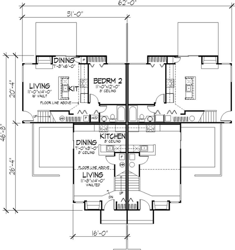 Multi unit house plans home design ls b 1801 21486 for Multi unit home plans