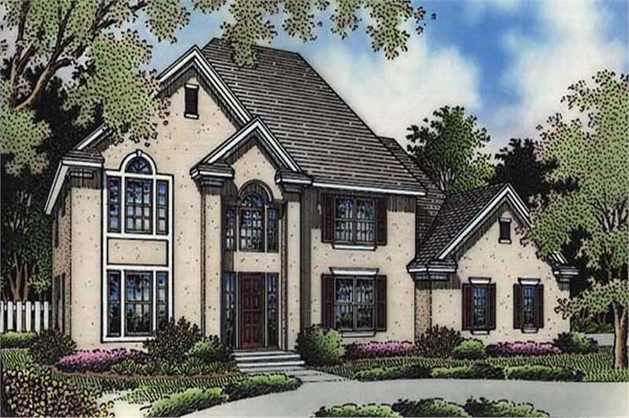 3-Bedroom, 2912 Sq Ft European House Plan - 146-2485 - Front Exterior