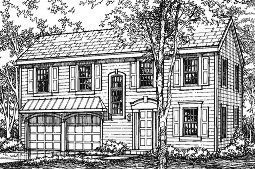 This is the front elevation for Colonial Houseplans LS-B-93012.