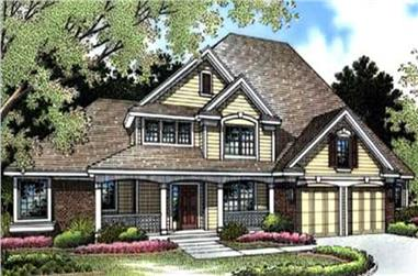 3-Bedroom, 2729 Sq Ft Country Home Plan - 146-2492 - Main Exterior